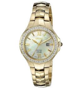 Relógio Seiko Coutura Solar Feminino Dourado/diamante/madre