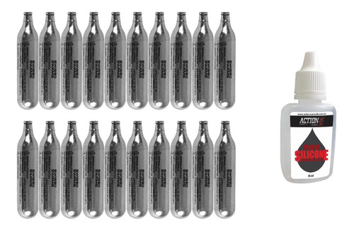 Imagem 1 de 5 de Co2 12g 20 Unid Cilindro Gás P/ Airsoft Airgun+oleo Silicone