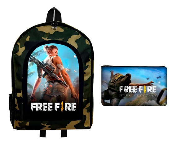 Combo Mochila Camuflada + Cartuchera Free Fire Battle Royale