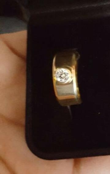 Aliança Em Ouro 18kl Com Diamante 0.35ct