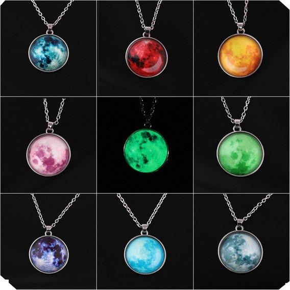 10 Pz Mayoreo Collar Luna Llena Brilla Oscuridad Luz Verde