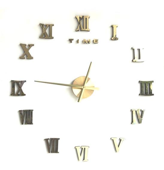Reloj De Pared 3d N Romanos Adherible A Pared Chico 10/70 Cm