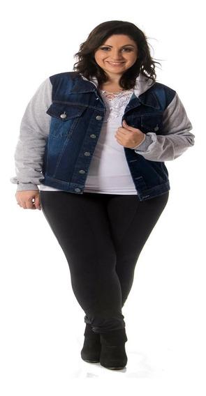 Jaqueta Jeans Moletom Feminina - Plus Size G1 Ao G3