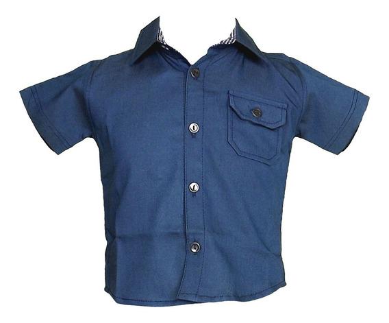 Camisa Manga Curta Bolso Com Lapela Azul Claro Gijo Kids