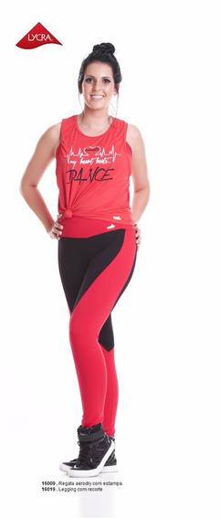 Calça Legging Academia Fitness Lycra Com Recorte