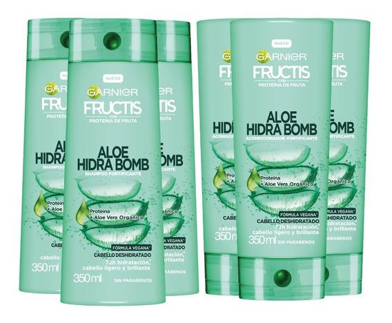 Pack 3 Shampoo Y 3 Acondicionador Aloe Hidra Bomb Pelo Seco