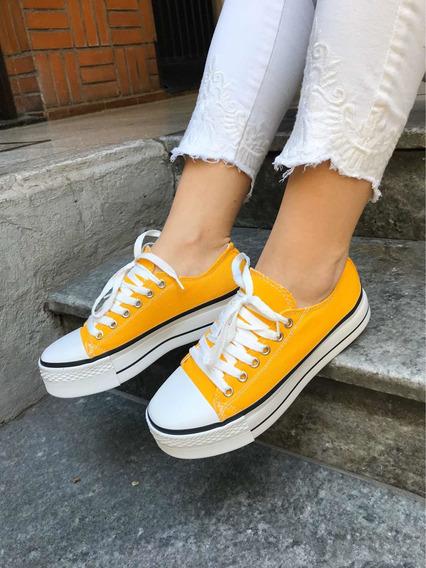 Zapatillas Star Amarillas De Lona Con Plataforma Converse