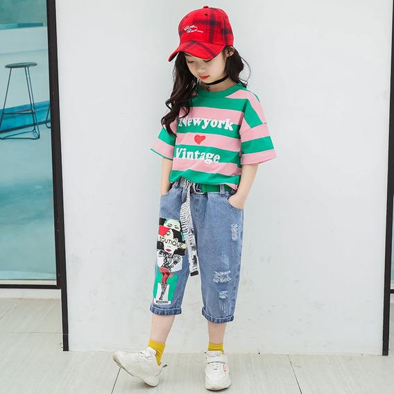Meninas Verão T-shirt + Jeans Set Rosa_150cm