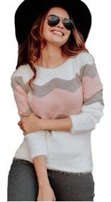 Blusa Casaquinho Zig Zag Tricor Com Pelinhos Moda Inverno