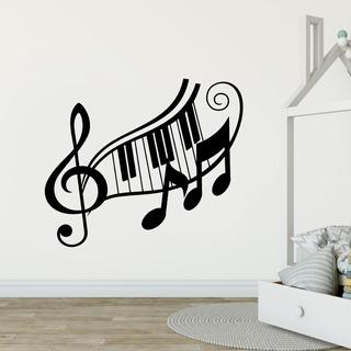 Adesivo De Parede - Piano Clave Sol Musica Notas Arte No Lp