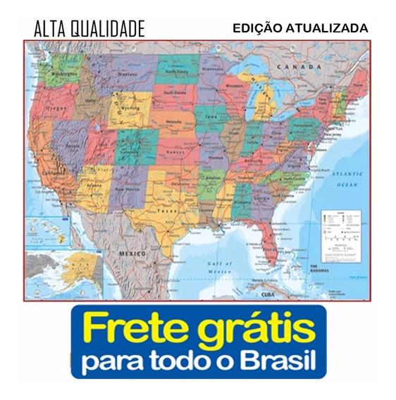 Mapa Estados Unidos America Eua 120cmx90cm Frete Gratis
