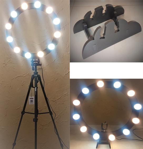 Ring Light 12 Soquete 2em1 Tripé 1,50 Kit Selfie Frete Grat