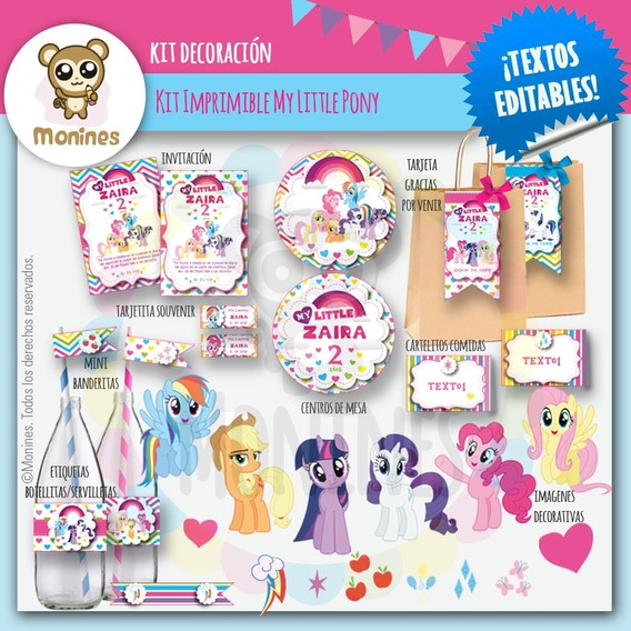 Kit Imprimible My Little Pony (texto Editable) Cumpleaños