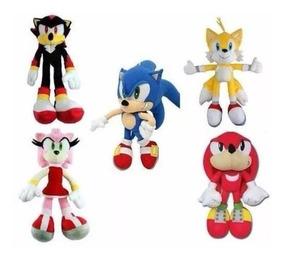 Kit 5 Pelúcias Turma Do Sonic