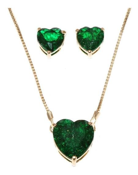 Conjunto Colar Brinco Coração Pedra Verde Fusion Folheado