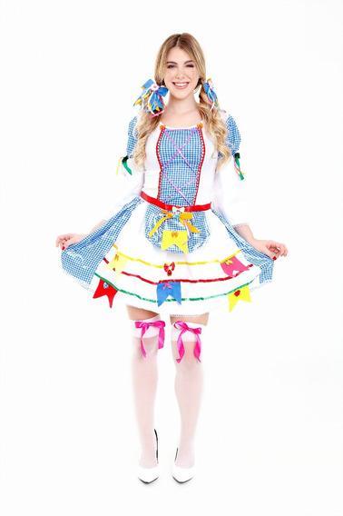 Vestido Festa Junina Manga Longa Adulto,roupa Caipira,