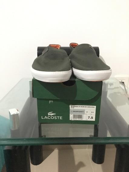 Lacoste Sundaze Cv, Verde Con Blanco, Talla 26.5(8.5)