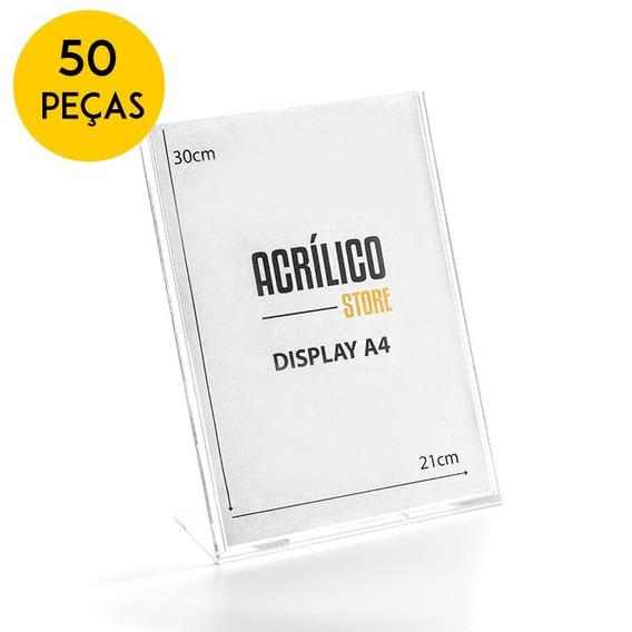 Display De Acrílico Tipo L Vertical De Mesa A4 Kit 50 Peças