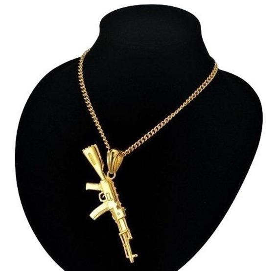 Cordão Banhado Ouro 70cm, Pingente Top Arma Ak-47