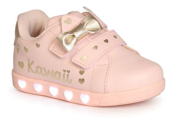 Tênis Pampili Infantil Sneaker Rosa Kawaii Com Led Com Luz