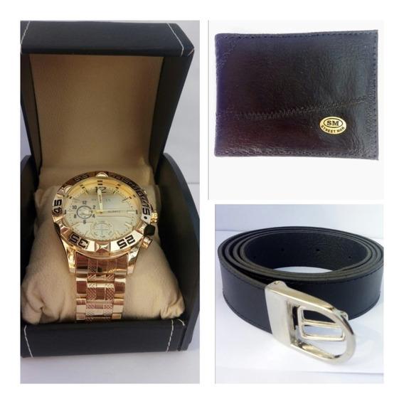 Kit C/3 Presente Relógio Masculino+carteira+cinto Caixa Luxo