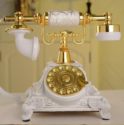 Vintage Retro Resina Rotativa Teléfono Blanco