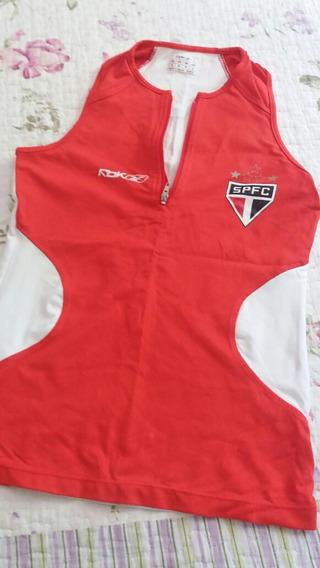 Camisa São Paulo Modelo Nadador Com Ziper Feminina Tamanho P