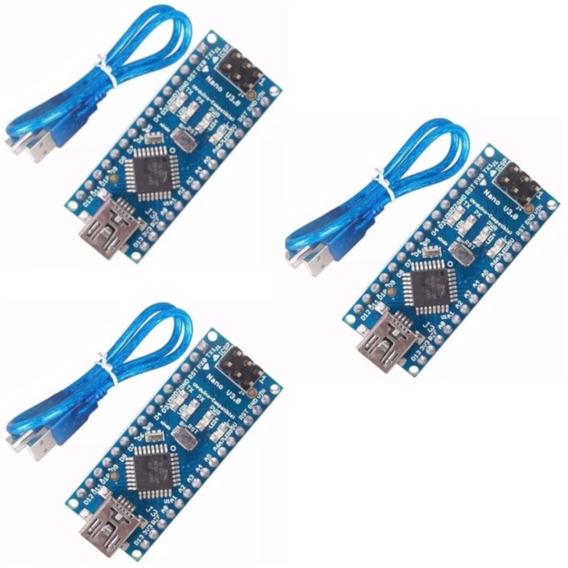 Kit 3x Pcs Para Arduino Dccduino Nano V3 Atmega328 + Usb