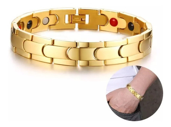 Pulseira Masculina Magnética Aço Inox Titânio Banhada Ouro