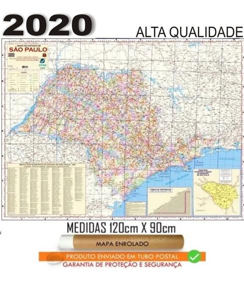 Mapa Politico Estado São Paulo 120 X 90 Cm Enrolado
