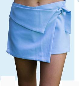 Short Falda Azul Cielo Con Hebilla Corte Asimétrico