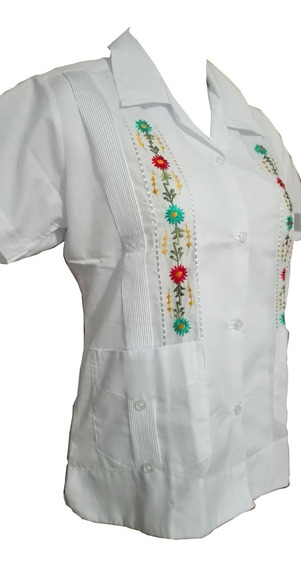 Blusa Guayabera Dama 2 Bolsas Bordada 100% Yucateca