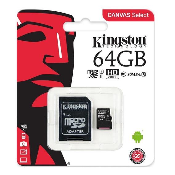 Cartão De Memória 64gb Microsd Kingston C 10 + Adaptador Usb