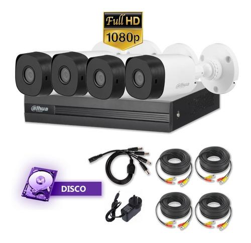 Kit 4 Camaras Seguridad 2mpx 1080p +dvr Dahua 8ch P2p +disco