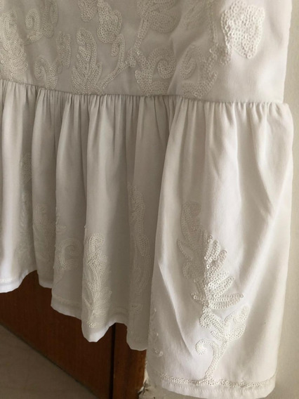 Vestido Zara Girl Branco Bordado Paetê
