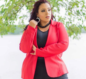 Casaco Blazer Moda Plus Size 46 48 50 Neoprene Acinturado