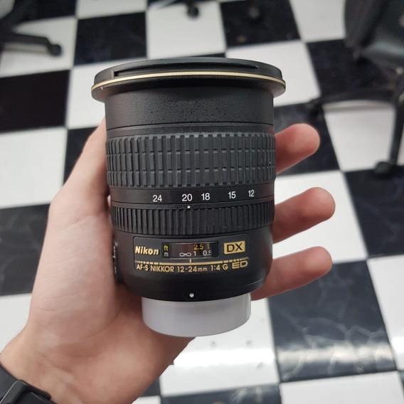 Lente Grande Angular Nikon 12-24mm F/4 G Usada Garantia Nf-e