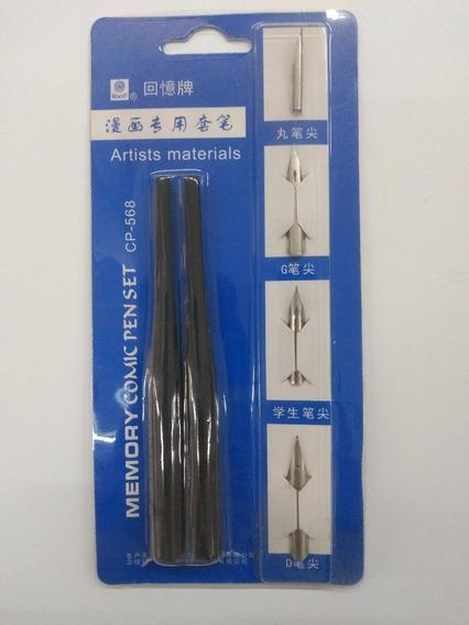 Plumas Comic Pen Set 4 Plumas + 2 Portaplumas
