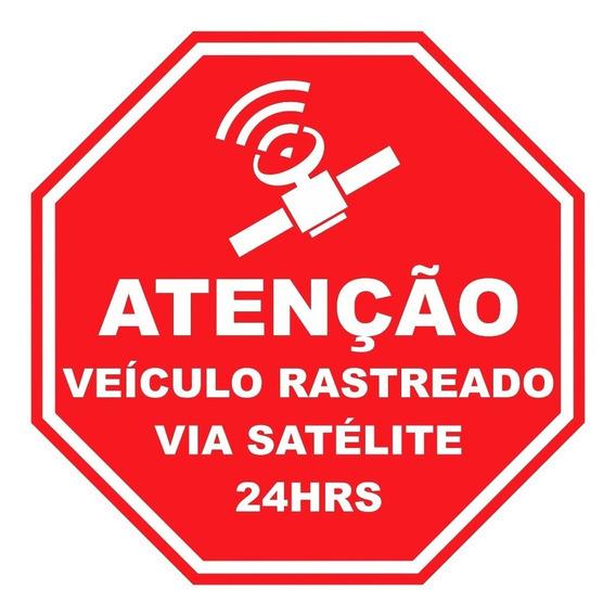 Kit 06 Adesivos - Veiculo Rastreado Via Satelite -frete Fixo