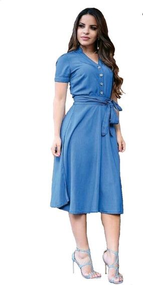 Vestido Jeans Evase Com Laço - Moda Evangélica - Lançamento