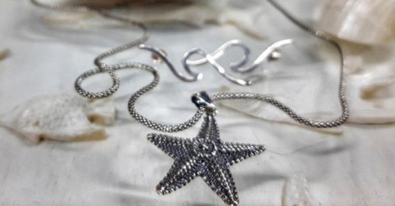 Colar Estrela Do Mar Em Prata De Lei