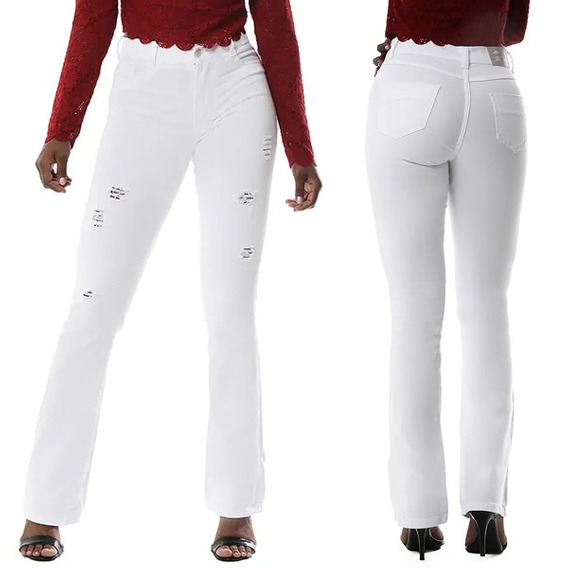 Calça Jeans Flare Sawary Feminina Cintura Com Elastano