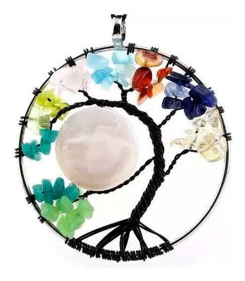 Collar Arbol De Vida Cuarzo Mandala Yoga Reiki Proteccion A1