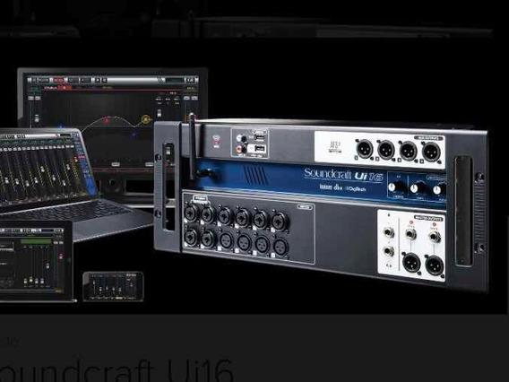 Mesa De Som Digital Soundcraft Ui 16 Com Case Som Case