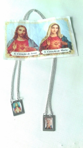 Escapulário Aço Com Oração Sagrado Coração De Jesus E Maria