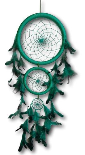 Filtro/apanhador  Dos Sonhos  Com Penas Verde  Ref: 0101