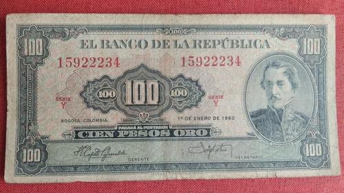 Imagen 1 de 2 de Billete Colombiano Antiguo De 100 Pesos Año 1960