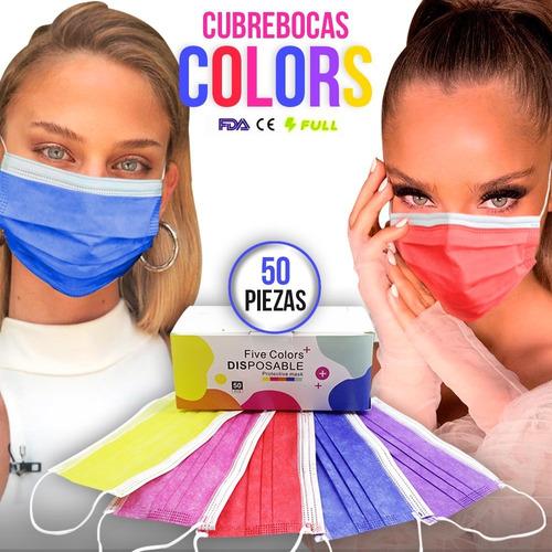 Cubrebocas 5 Colores Plisado Tricapa Termosellado 50pz