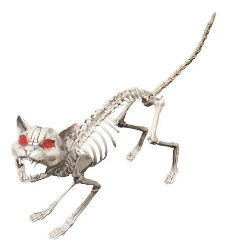 Imagen 1 de 1 de Decorativo Esqueleto De Gato Cat Skeleton Con Luz Halloween