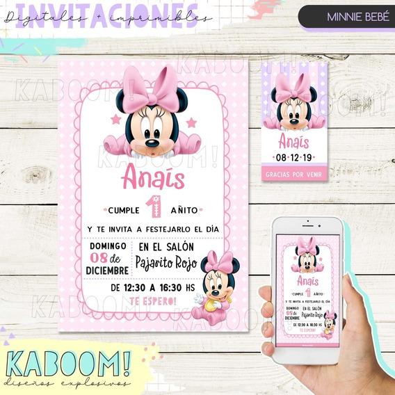 Pack De Tarjetas De Minnie Mouse Bebe Para Imprimir
